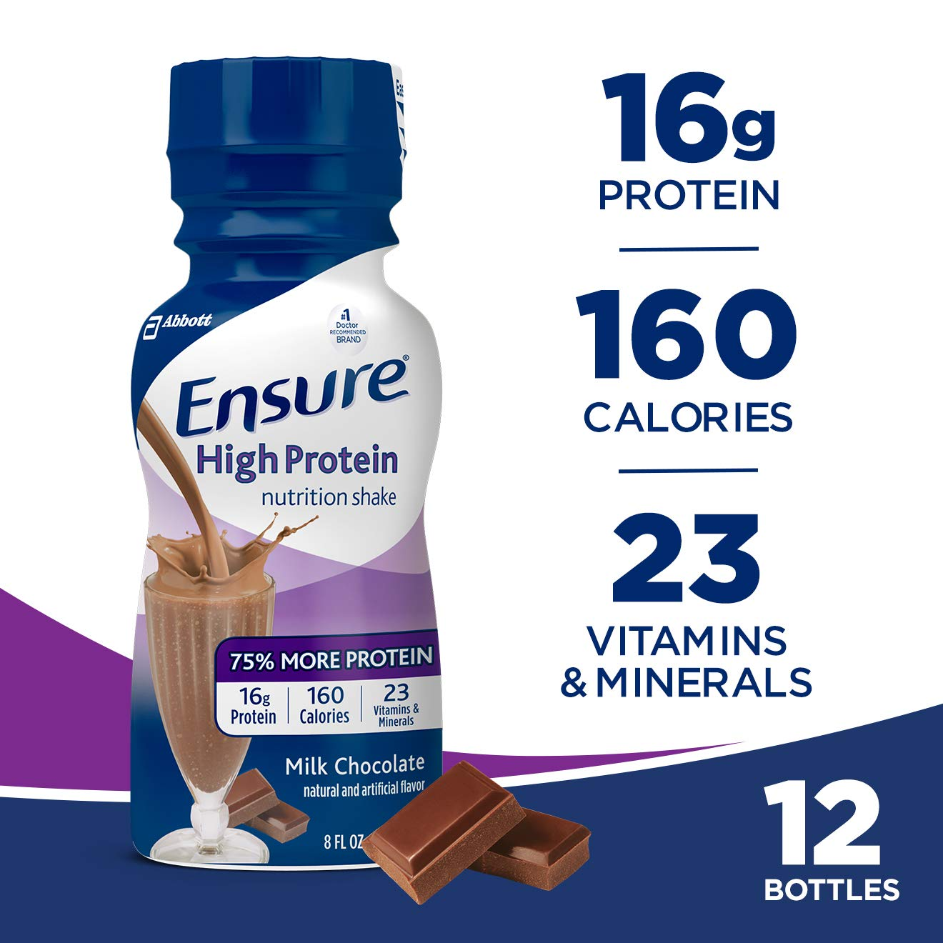 Ensure High Protein Nutrition Shake with 16 Grams of High-Quality Protein Meal Replacement Shakes, Low Fat/Milk Chocolate, 8 Fluid Ounce (Pack of 12) by Ensure