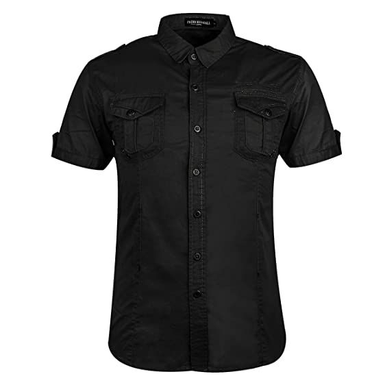 Amazon.com: Cokle Men Short Sleeve Shirts Casual Button Down Cargo ...