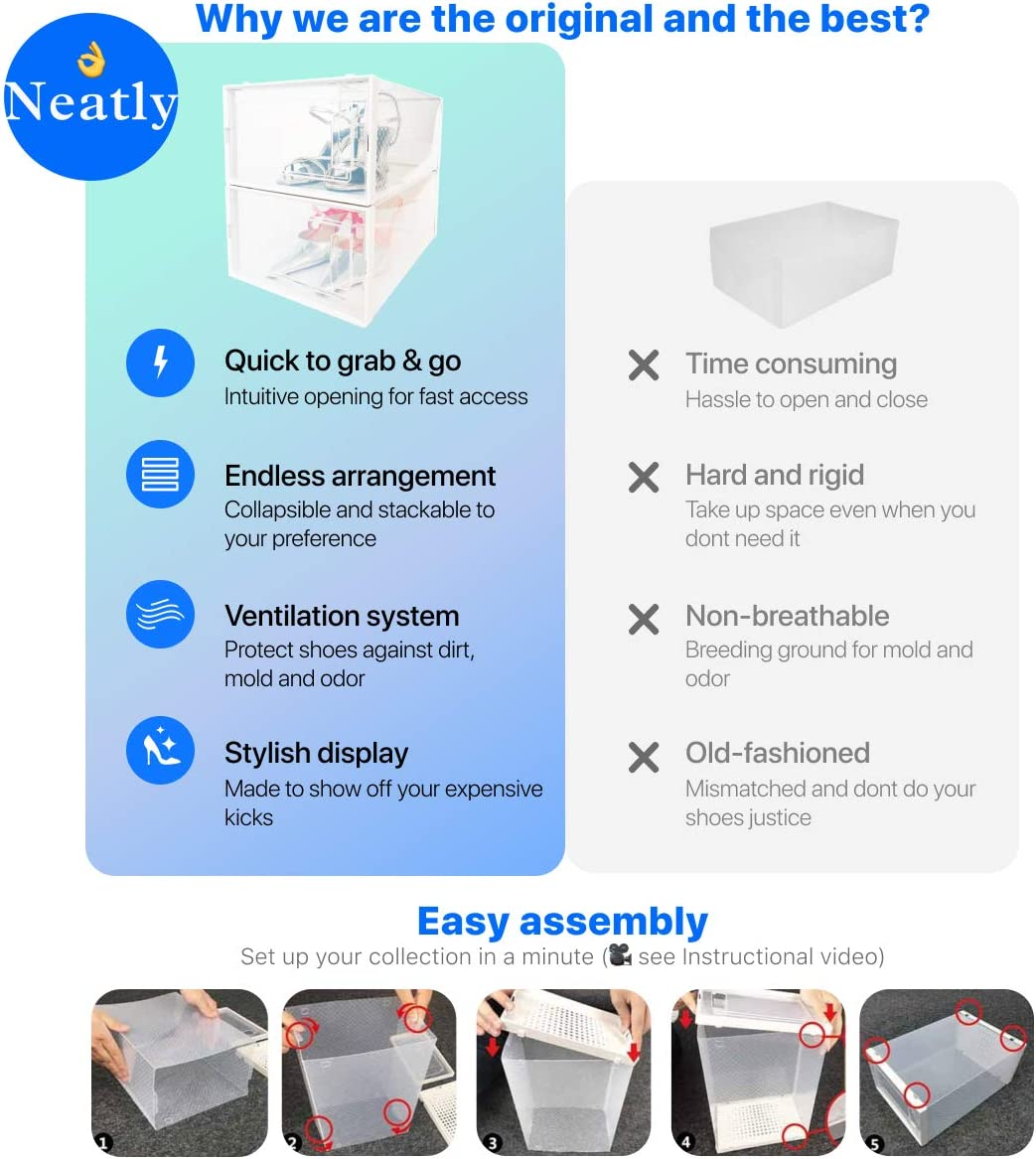 women shoes sneakers Stackable Shoe Racks for closets and entryway Shoe Storage cabinet Clear plastic shoe boxes with lids 12 COLLAPSIBLE Cube Storage bins for mens shoes NEATLY Shoe Organizer