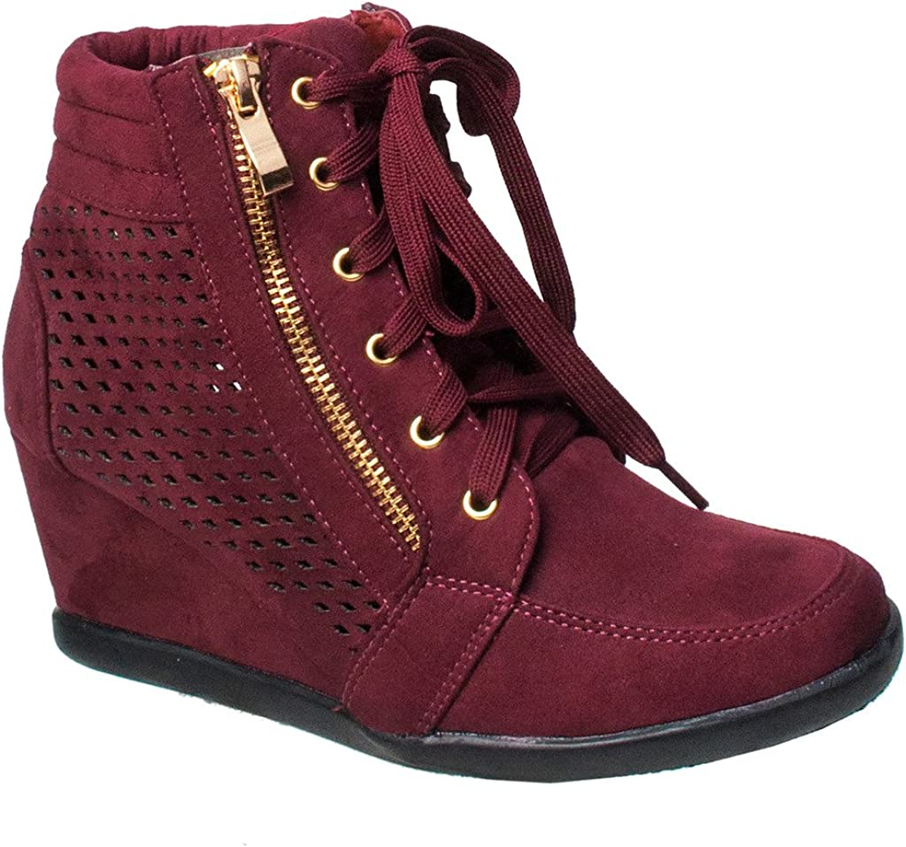 Wedge Heel Sneakers Platform Lace