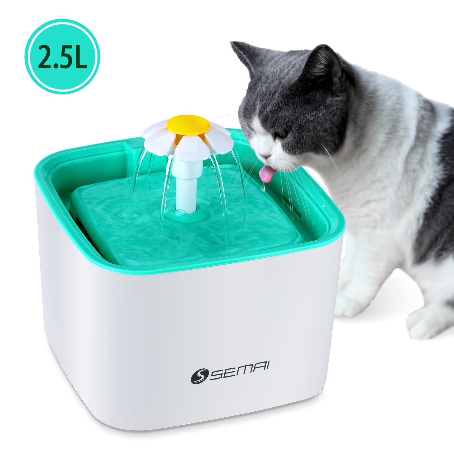 Semai Pet Water Fountain, 2.5L Flower Pet Dispenser, Super Quiet Automatic Drinking Water Bowl for Cat and Dog