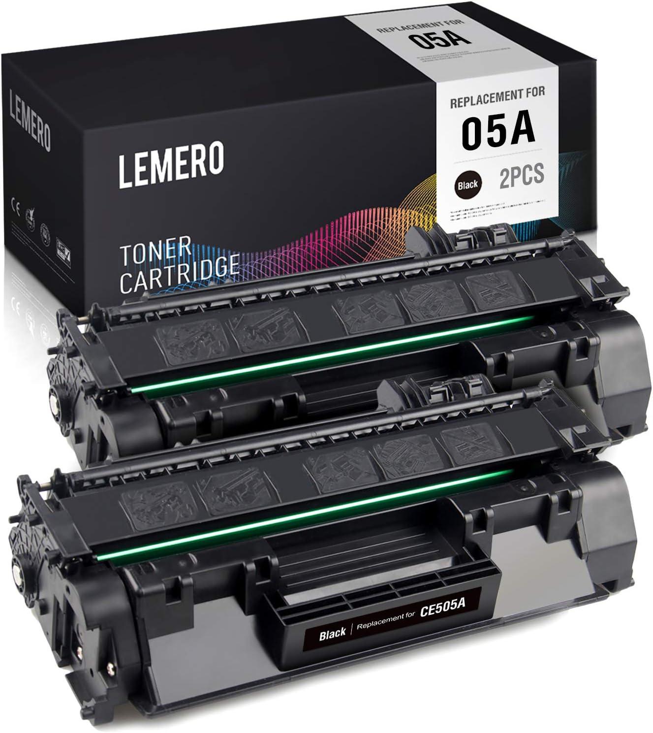 LEMERO Compatible Toner Cartridge Replacement for HP 05A CE505A to use with Laserjet P2055DN P2035 P2035N P2055D P2055X (Black, 2-Pack)