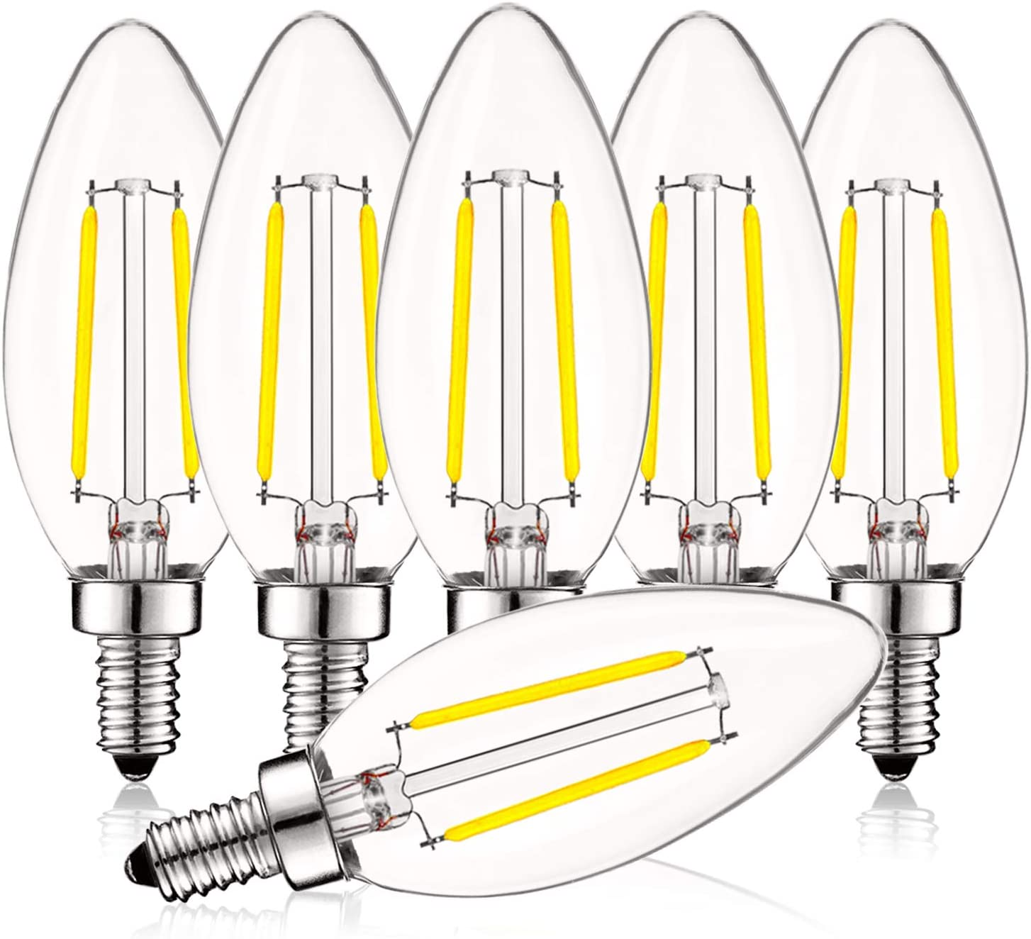Luxrite 4W Vintage Candelabra LED Bulbs Dimmable, 400 Lumens, 5000K Bright White, LED Chandelier Light Bulbs 40W Equivalent, Clear Glass, Filament LED Candle Bulb, UL Listed, E12 Base (6 Pack) - -
