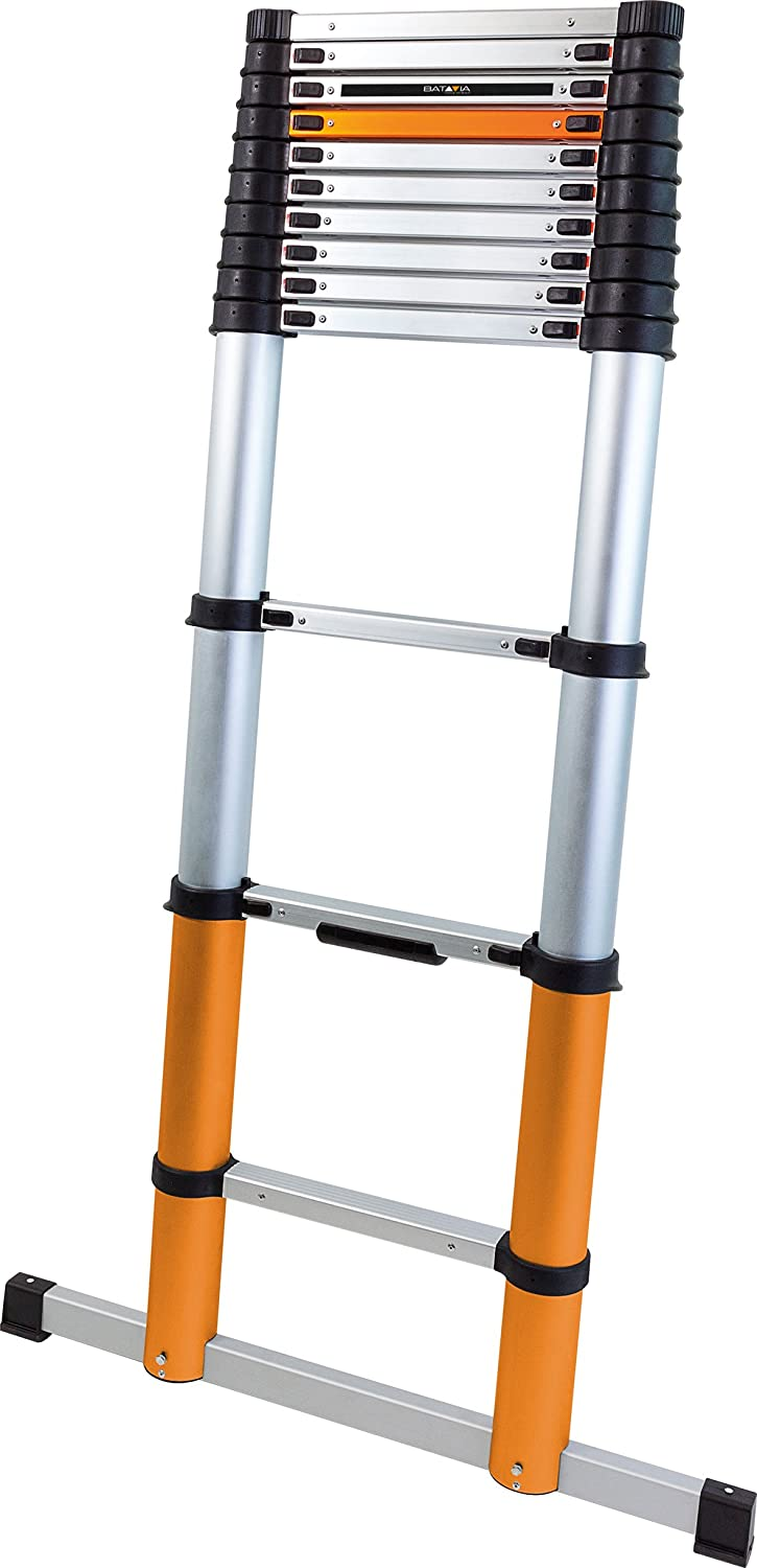 Batavia 7062759 Telescopic 3.90m Ladder with stabiliser bar, Silver/Orange/Black