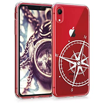 kwmobile Funda para Apple iPhone XR - Carcasa de [TPU] para móvil y diseño de Aguja magnética en [Blanco/Transparente]