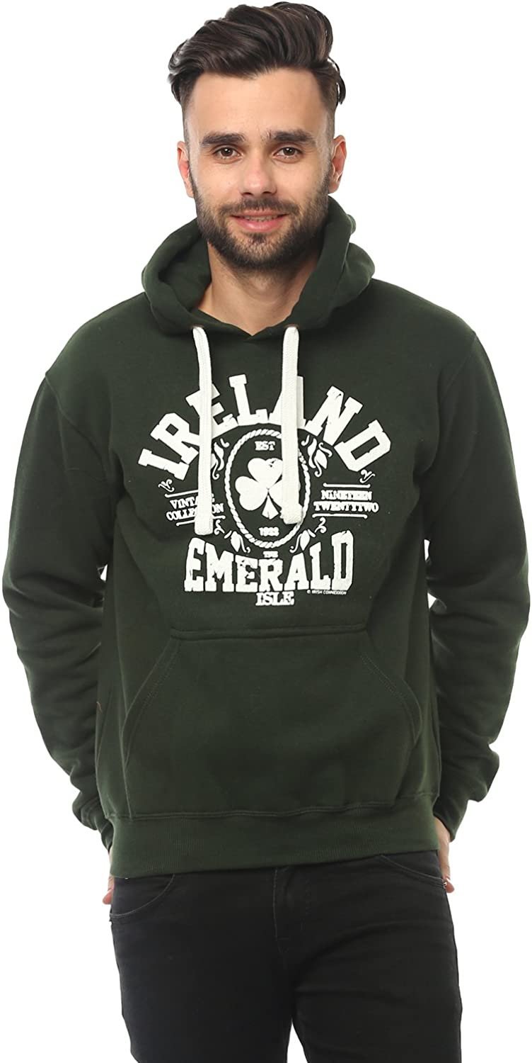 Forest Green Colour Carrolls Irish Gifts Pullover Hoodie With Ireland Emerald Isle Print