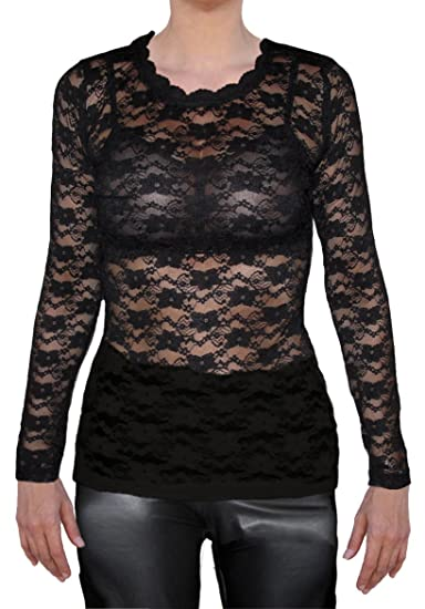 66073c824c7398 Ooh la la Plus Size Long Sleeve Stretch Lace T Shirt Blouse Top at ...