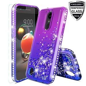 LG Aristo 2 Case,LG Aristo 3/Rebel 4 LTE/LG K8S/Aristo 2 Plus/Tribute Empire/Dynasty/Zone 4/Phoenix 4/Fortune 2/Risio 3/K8/K8+Case W/Tempered Glass Screen Protector Liquid Girls Women,Purple/Blue