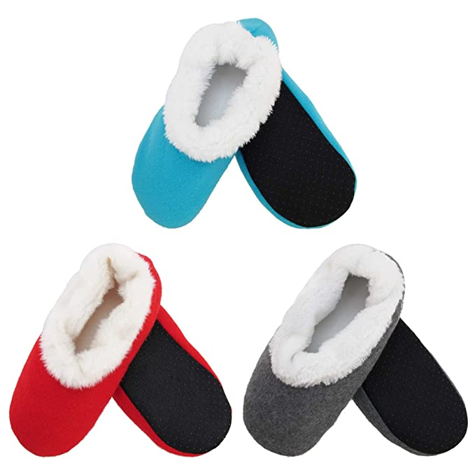160550006c9 Adult Super Soft Warm Cozy Fuzzy Slippers Non-Slip Lined Socks - Assortment  A03 -