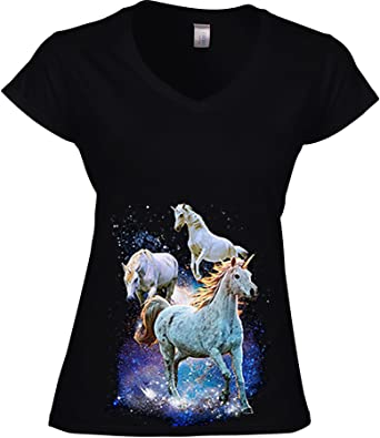 DarkArt-Designs Space Unicorns - Einhorn Pferde T-Shirt Für Damen -  Tiermotiv Shirt Fantasy Wildtier Fun Party&Freizeit Lifestyle Slim Fit:  Amazon.de: ...