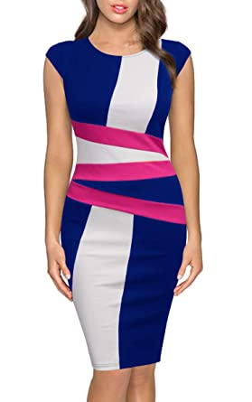 FORTRIC Women Round Neck Sleeveless Elegant Wear to Work Pencil Party Dress  Bright Blue S 8f50c9e25
