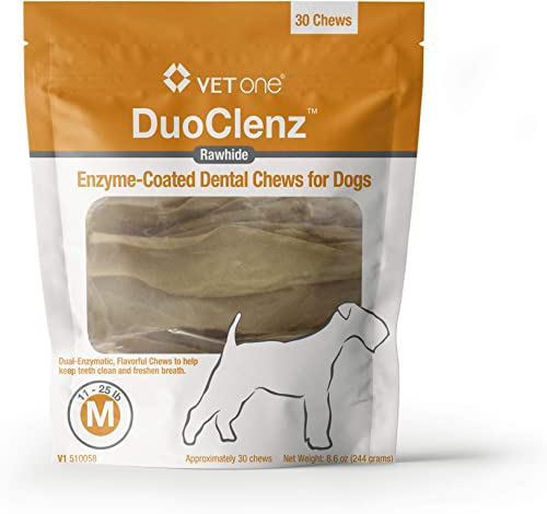 VetOne – DuoClenz Rawhide Dental Hygenic Chews for Dogs, 30-Count Bag
