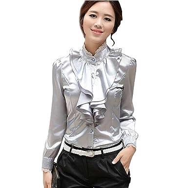 05c7cccd7e266 Aro Lora Women s Lace Ruffle Neck Long Sleeve Stand Collar OL Shirt Tops  Blouse Small Grey