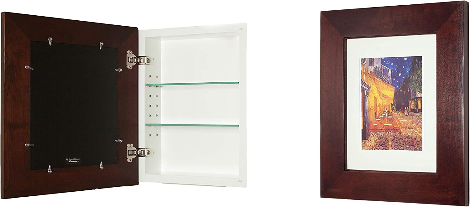 14×18 Espresso Concealed Cabinet Large , a Recessed Mirrorless Medicine Cabinet with a Picture Frame Door