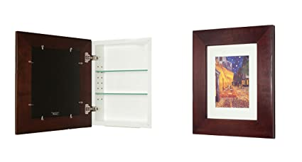 14x18 Espresso Concealed Cabinet (Large), A Recessed Mirrorless Medicine  Cabinet With A Picture