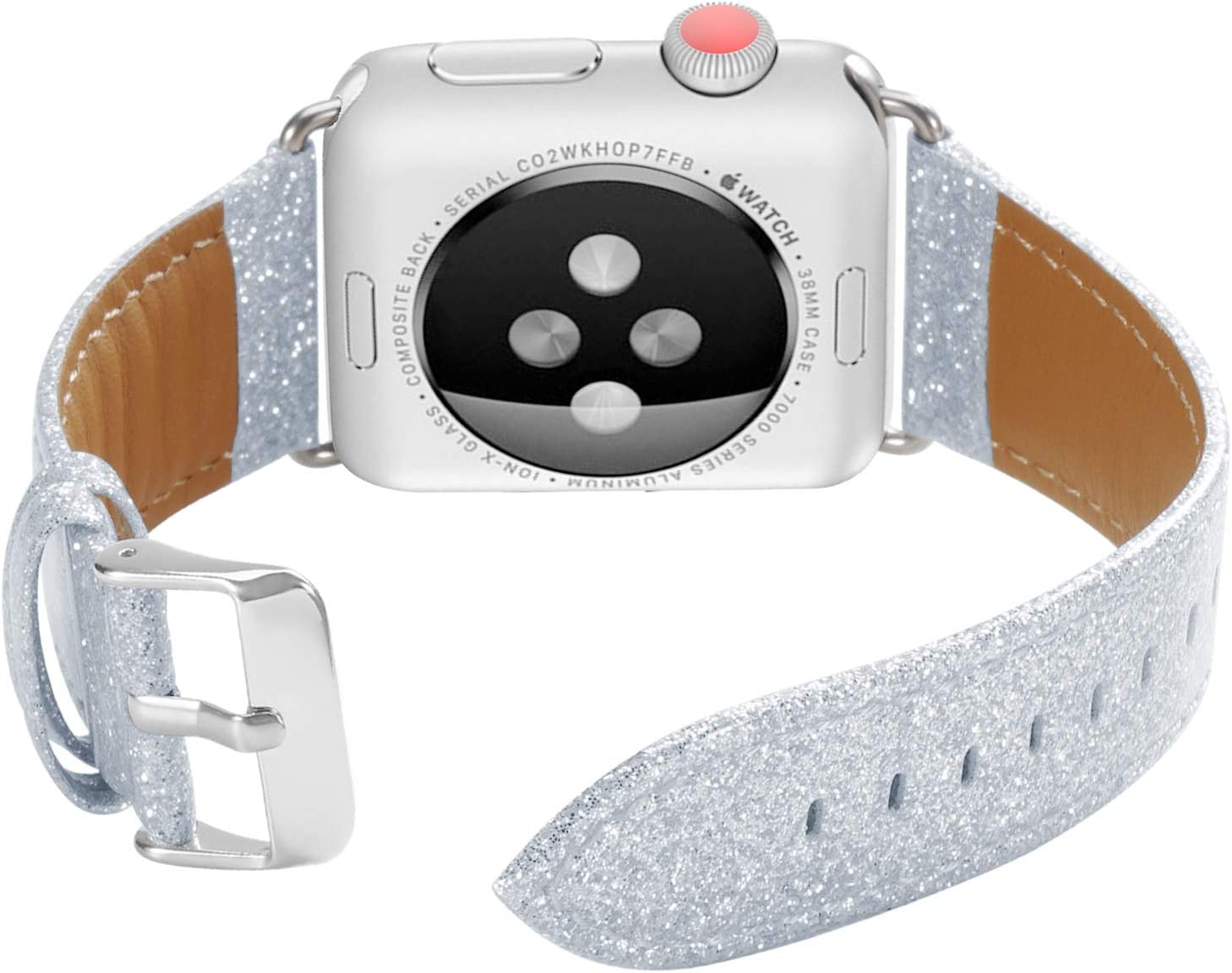 ALADRS Bling Leather Watch Straps Compatible for Apple Watch Glitter Band 42mm 44mm, Shiny Sparkly Wristbands Replacement for iWatch Series 6 5 4, SE (44mm) Series 3 2 1 (42mm), Silver