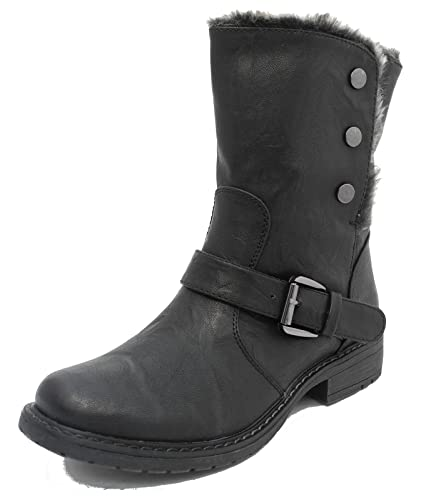 936eb4bb626 Womens Ladies Cats Eyes Fold Down Leather Look Fur Lined Biker Ankle Boots  Black Brown Tan Size 3 4 5 6 7 8