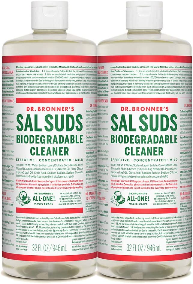 Dr. Bronner's - Sal Suds Biodegradable Cleaner (32 Ounce, 2-Pack) - All-Purpose Cleaner, Pine Cleaner for Floors, Laundry and Dishes, Concentrated, Cuts Grease and Dirt, Powerful Cleaner, Gentle