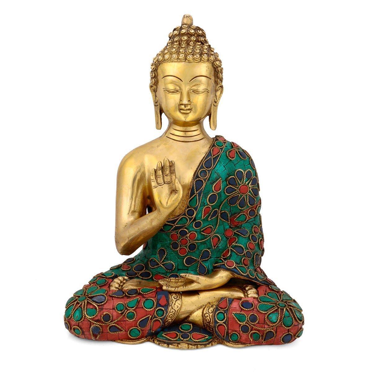 AapnoCraft 11'' Abhaya Buddha Idols -Tibetan Brass Blessing Buddha Statue With Coral Stone Work Handmade Buddhism Figurine Anniversary Gifts by AapnoCraft