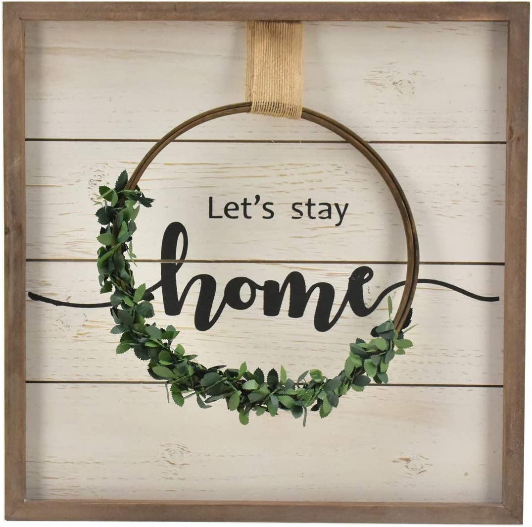 Parisloft Let's Stay Home Distressed Wall Hanging Signs Plaque with Half Wreath,Wooden Framed Housewarming Decor,15.8x15.8''