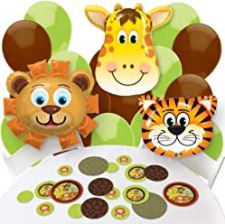 Big Dot of Happiness Funfari - Fun Safari Jungle - Confetti and Balloon Baby Shower or Birthday Party Decorations - Combo Kit