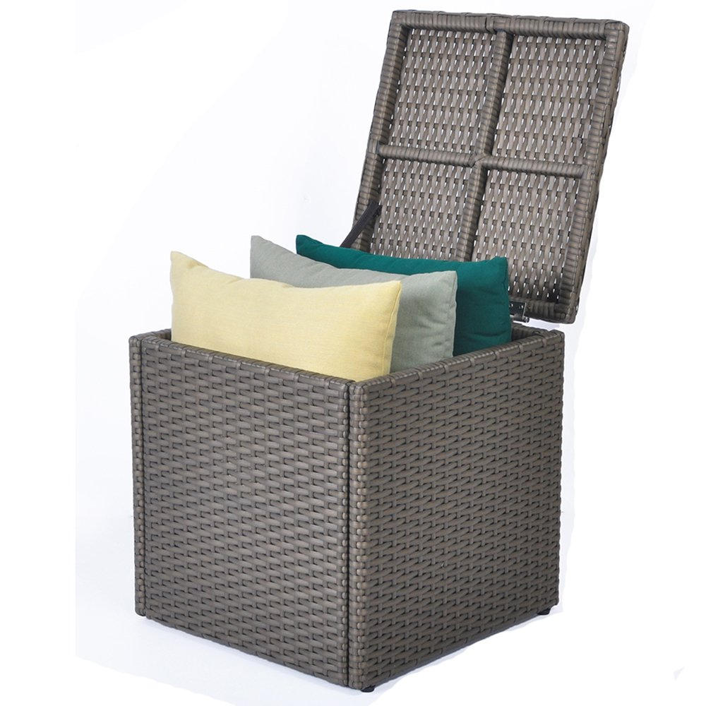 ART TO REAL Outdoor Patio Resin Wicker Deck Box Storage Container Bench Seat, 21 Gallon, Anti Rust Aluminum Frame, (17.7'' 17.72'' 17.72'', Brown)