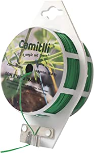 CAMITLLI Garden Plant Ties 328 feet Green Bread Ties, Green Coated Garden Wire Twist Ties with Cutter for Gardening Office Home Organization Green