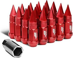 J2 Engineering 7075-T6 Replacement forged Aluminum M12X1.5 20Pcs 80mm Tall Spiky Cap Lug Nut Set w/Adapter Red