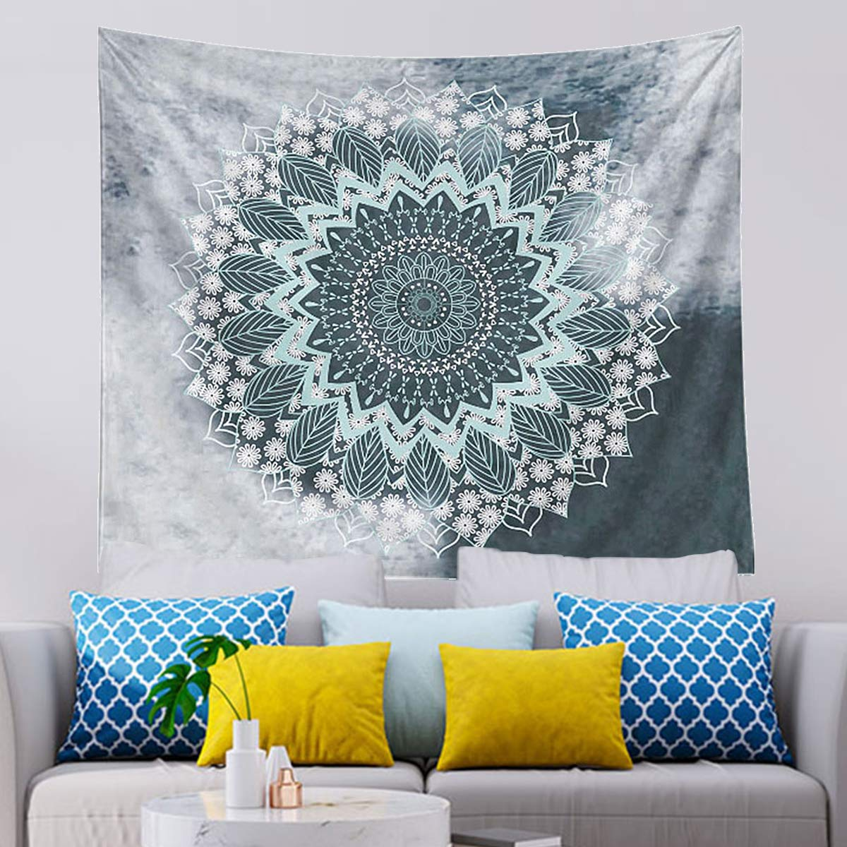 Buy Tapestry Wall Hanging 51 X 59 Inches Art Hippie Bohemian Flower Tapestry Wall Hanging For Living Room Bedroom Dorm Decor 5159 Inches Grey Online At Low Prices In India Amazon In