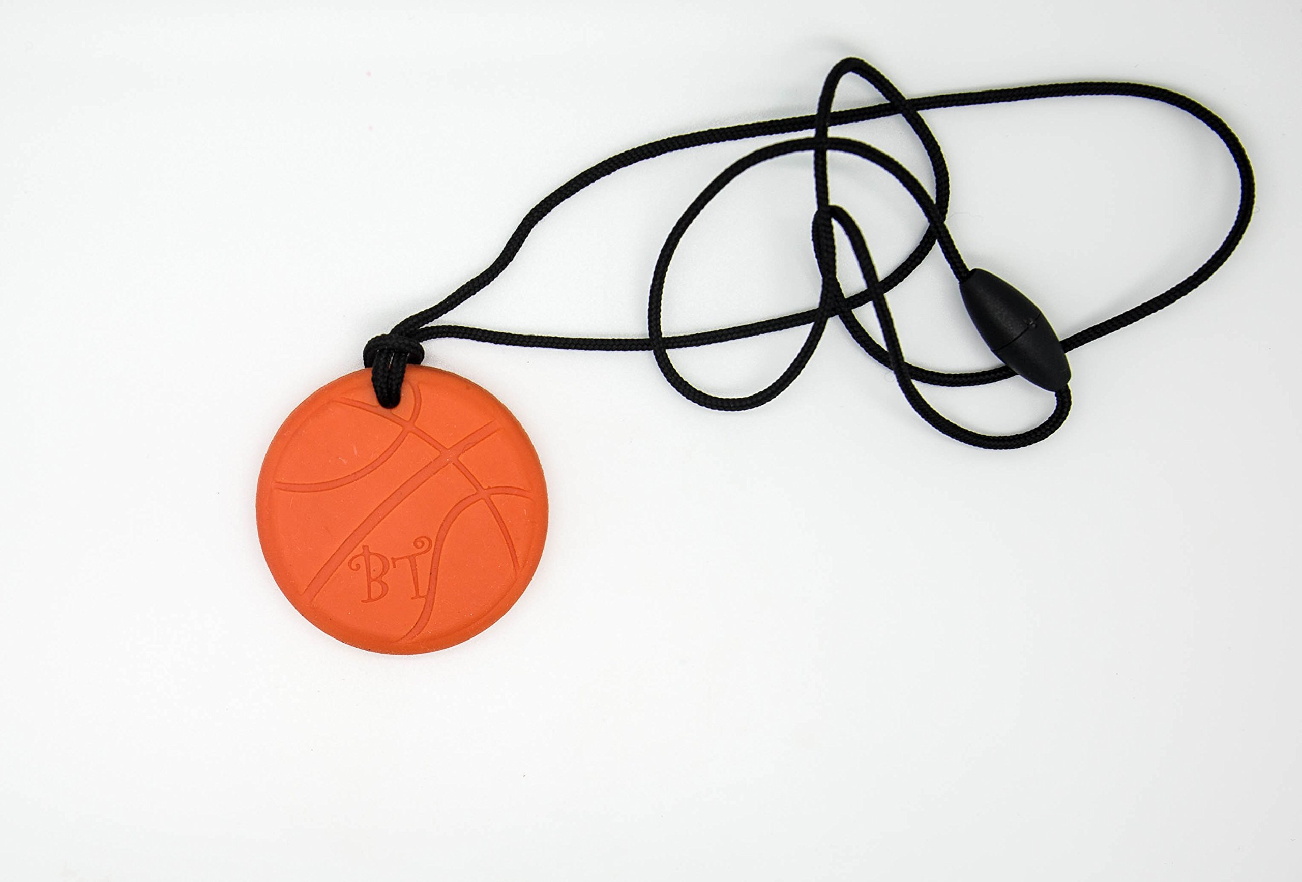 Bestie Toys Basketball Sensory Chew Necklace-(1PK)-Food Grade Silicone - Chewable Jewelry for Boys & Girls with Autism SPD ADHD Chewing Biting Stimming Needs-Oral Motor Aid-Made in The U.S.A (Orange)