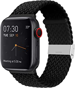 YOTAN Braided Solo Band Compatible with Apple Watch 42mm 44mm, Adjustable Soft Stretch Sport Elastics Women Men Loop Strap Compatible with iWatch Series 6/5/4/3/2/1 SE Black