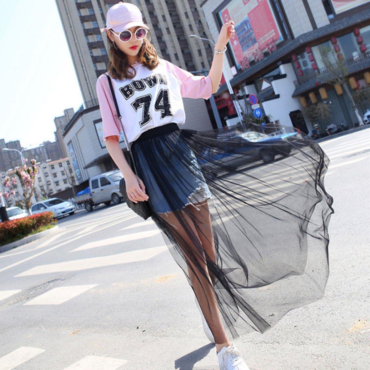 ABBY Femme Jupe en Tulle Taille Haute Longue Jupon sans Doublure en Polyester Jupe Noir Transparente