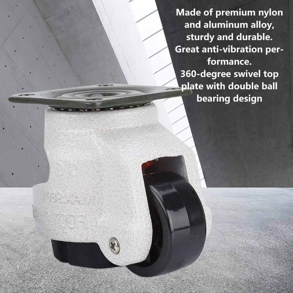 4 st/ücke Rollen Nylon Aluminiumlegierung Industrielle Maschine Nivellierung Nachlauf GD-40F