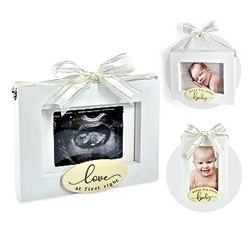 Black Silver Premium Wood Sonogram Sized Photo Frame Nursery Decor Expecting New Parent Baby Shower Keepsake