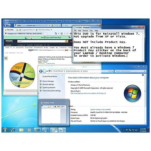 Amazon com: WINDOWS 7 INSTALL DVD 32 64 Bit SP1 Reinstall