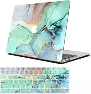 AOGGY MacBook Air 13 inch Case 2020 2018 2019 New Version Model:A2337 M1 A2179 A1932,Color Plastic Hard Shell Cases and Keyboard Cover for New MacBook Air 13 inch with Touch ID -Green