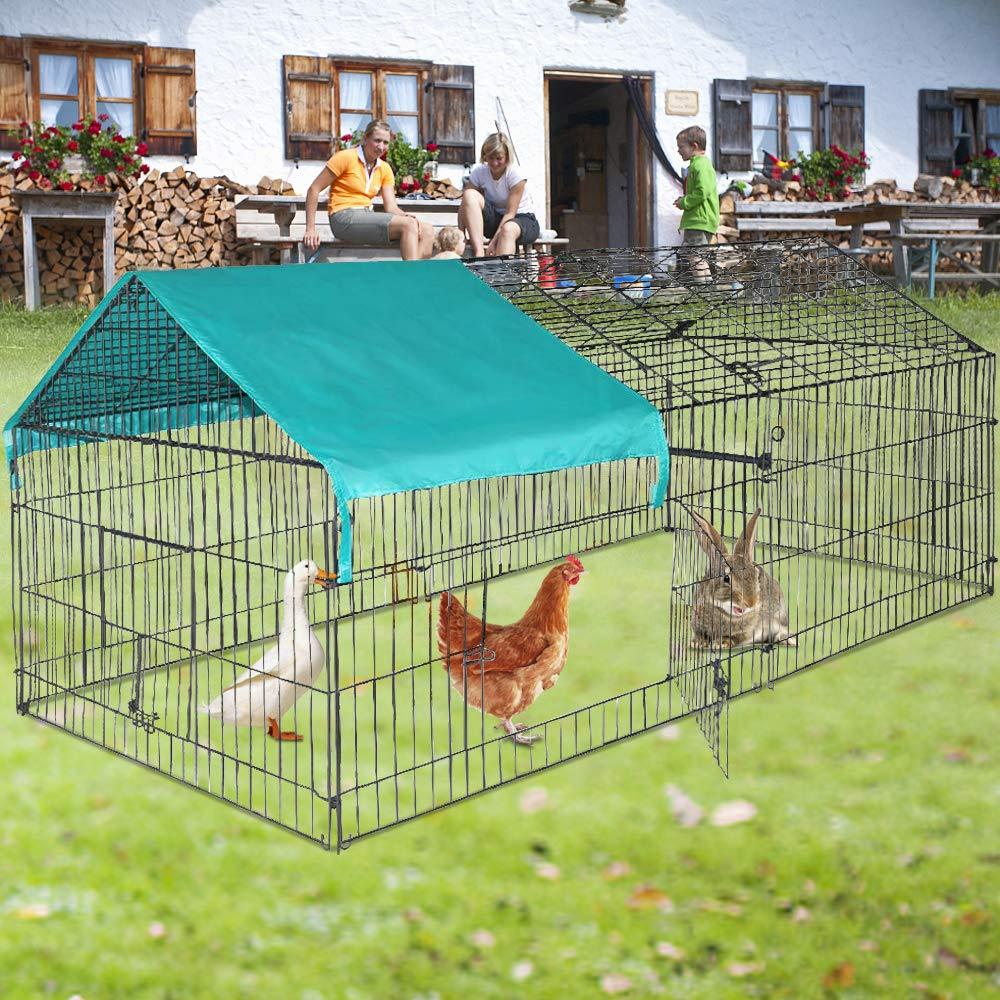 Dkeli Chicken Coop Chicken Cage Pens Crate Kennel Rabbit Cage Enclosure Pet Playpen Outdoor Exercise Pen by Dkeli