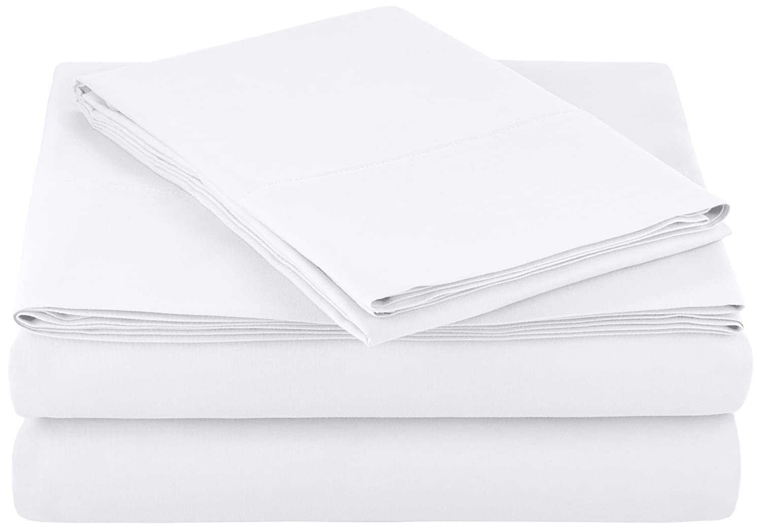 "AmazonBasics Lightweight Super Soft Easy Care Microfiber Sheet Set with 16"" Deep Pockets - Twin, Bright White, 4-Pack"