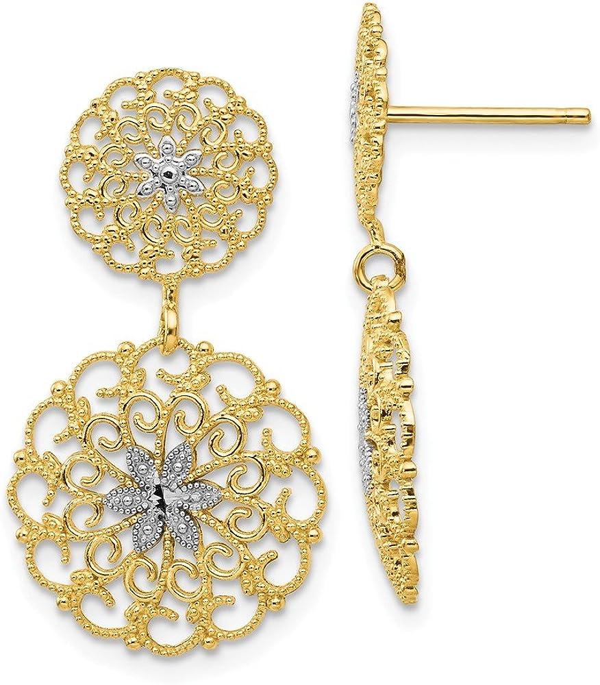 14K and Rhodium Diamond-cut Filigree Medallion Drop Post Earrings