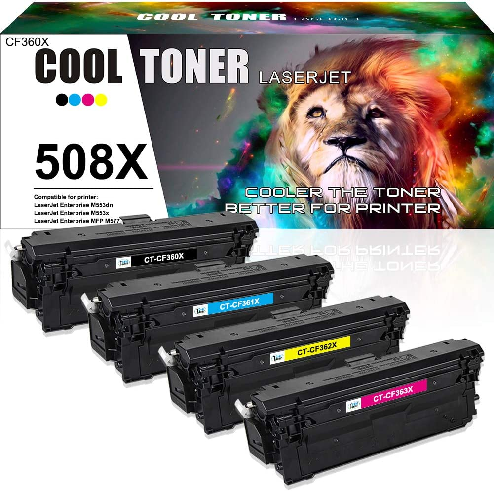 Cool Toner Compatible Toner Cartridge Replacement for HP 508X 508A CF360A CF360X CF361X CF362X CF363X Color Laserjet Enterprise M553 M553n M553dn M552dn M577 Ink (Black Cyan Magenta Yellow, 4-Pack)