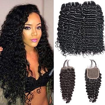 5fd3977f8 Ms Sunlight Brazilian Deep Curly Human Hair Bundles with Closure Deep Wave  Human Hair Bundles with