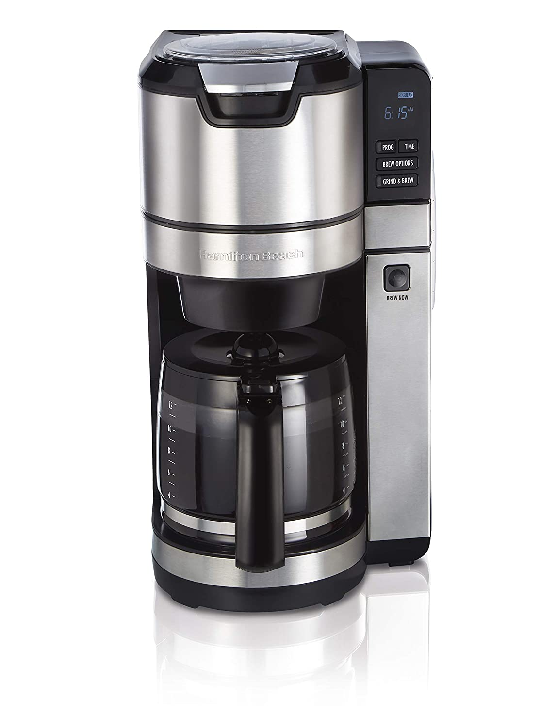 Hamilton Beach Programmable Grind and Brew Coffee Maker (45505), 12 Cup, Black