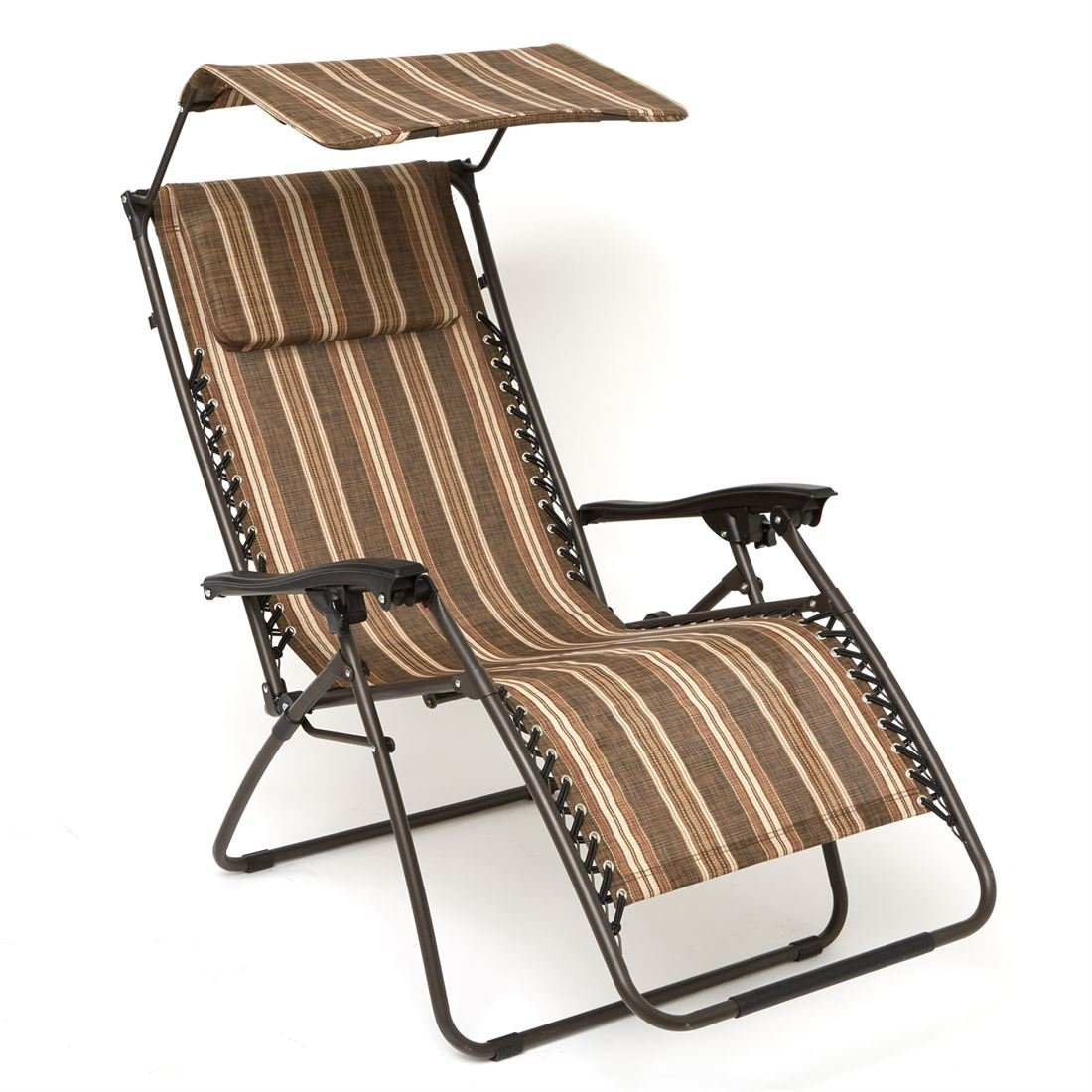 BrylaneHome Zero Gravity Chair With Pillow And Canopy (Brown Stripe,0)