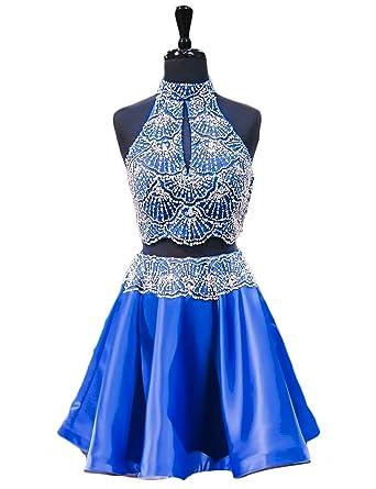 163fbcf13c OYILAN Woman s High Neck Beading Homecoming Dresses 2 Piece Prom Dresses  Royal Blue 02
