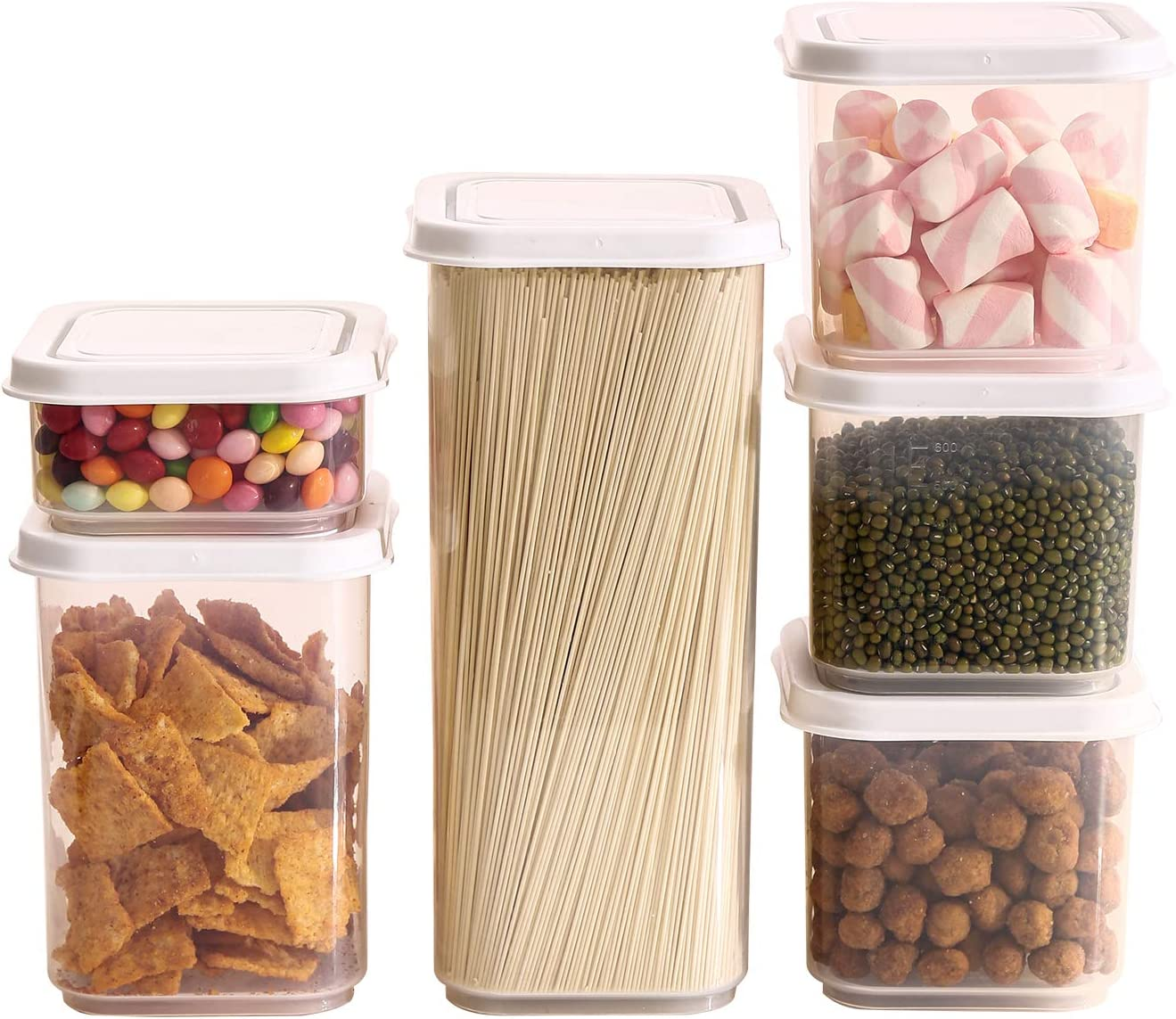 Sealed Food storage Container Set, 6 pieces plastic storage container set, (1.8L, 1L, 0.7L x 3, 0.3L) kitchen and pantry organization, sugar, noodles, snacks, baking, leak proof…(Pure white)