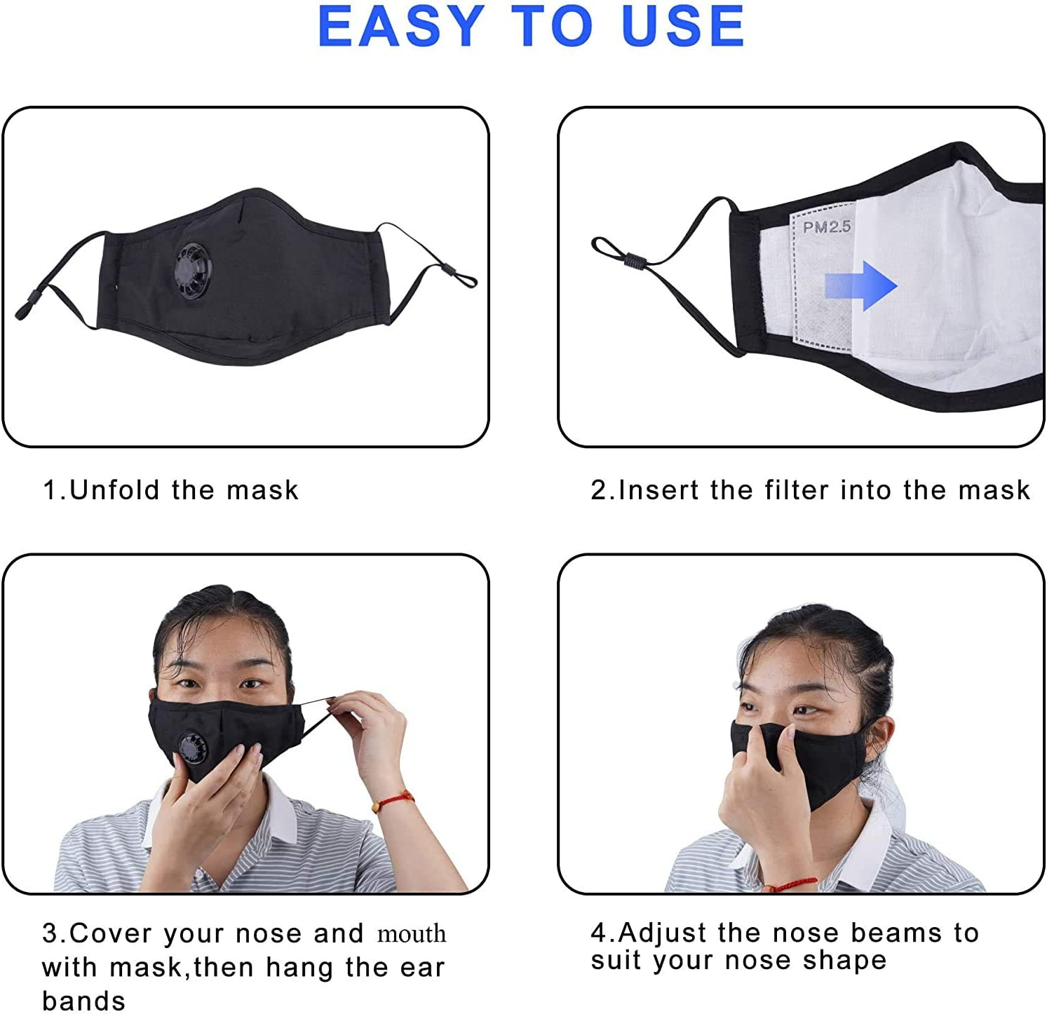 Yck-SAiu 2 PC Cotton Face Bandana Shields with 8 Carbon Filters and Adjustable Ear Loops