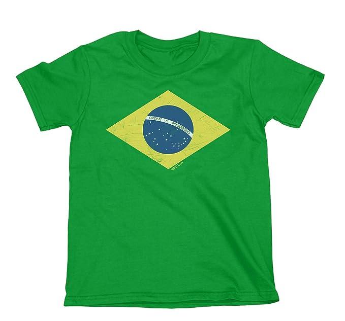 Niños O Niñas Camiseta Brazil Diamond Flag Copa Mundial 2018 Fútbol Kids Brasil Retro