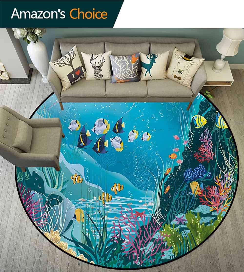 RUGSMAT Fish Machine Washable Round Bath Mat,Underwater Landscape with Tropical Fish and Algae Polyps Descriptive Nautical Image Non-Slip No-Shedding Bedroom Soft Floor Mat,Diameter-71 Inch by RUGSMAT (Image #2)