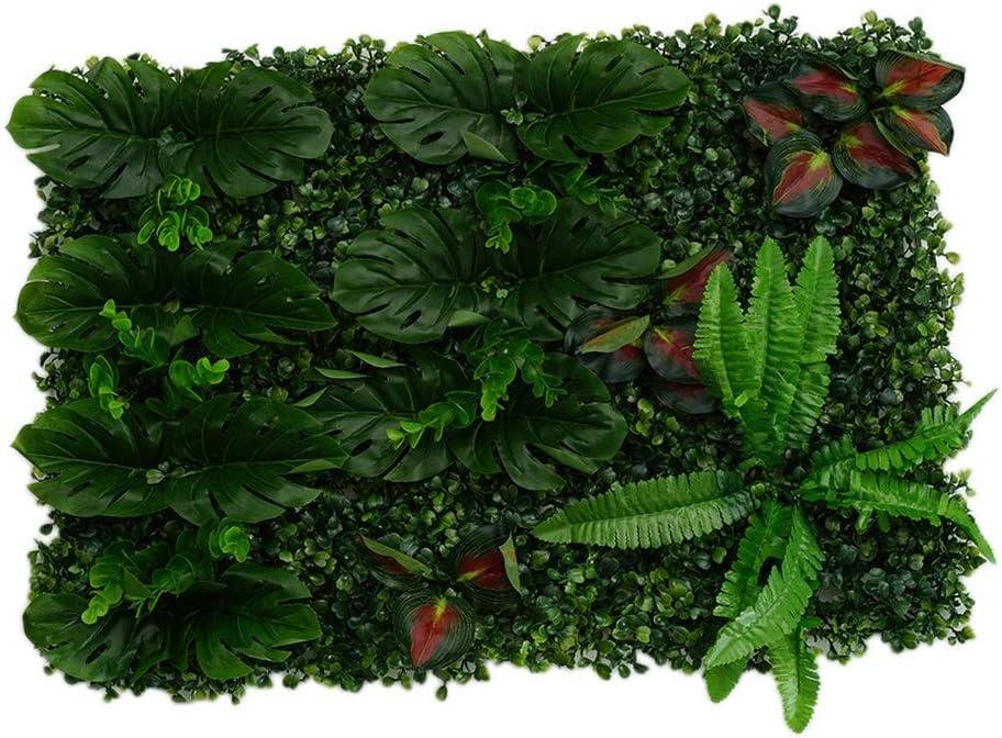 Non-brand Plantas De Plástico Artificiales Paneles De Pared De La Flor Jardín De Patio De Jardín Al Aire Libre Patio Decoración Floral Artesanía - Hojas Rojas