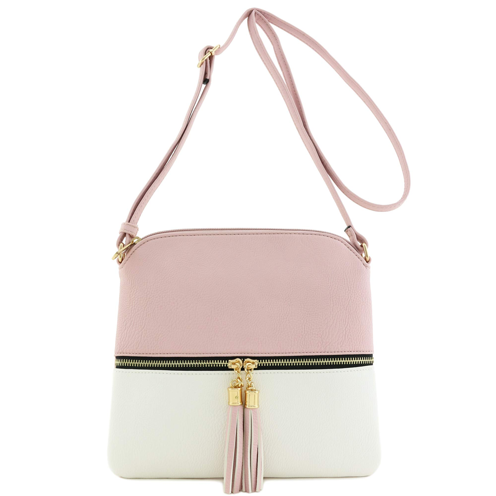 Lightweight Colorblock Medium Crossbody Bag with Tassel (Blush/White) by DELUXITY (Image #2)